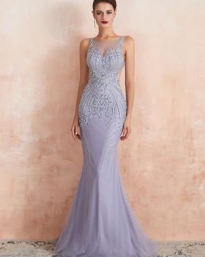 Jewel Neck Beading Mermaid Tulle Light Purple Evening Dress QD066