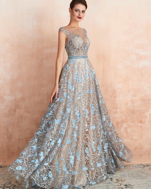 Jewel Neck Sequin Lace A-line Evening Dress QD067