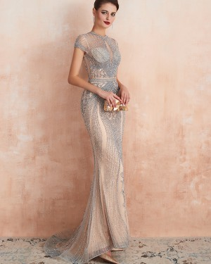 High Neck Beading Champagne Mermaid Evening Dress with Short Sleeves QD068