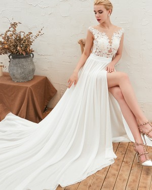 Lace Appliqued Bodice Jewel Pleated Wedding Dress with Side Slit QDWD001