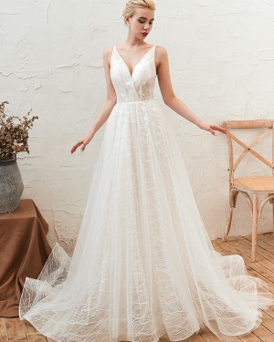 A-line V-neck Lace Tulle White Wedding Dress with Lace Up QDWD002