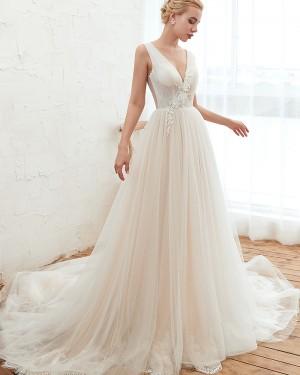 Pleated V-neck Ivory Appliqued 3D Flower A-line Wedding Dress QDWD003