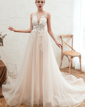 Tulle Jewel Lace Applique Ivory Wedding Dress QDWD004