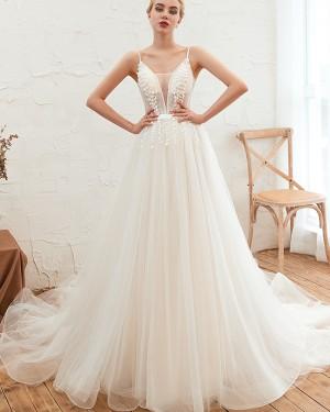 Beading A-line Spaghetti Straps Applique Pleated Wedding Dress QDWD005