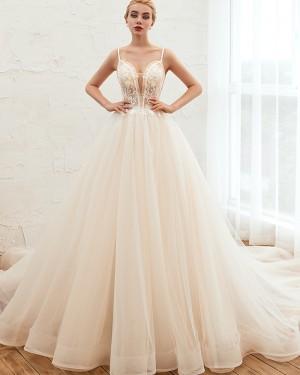Beading Spaghetti Straps Lace Bodice Ivory Tulle Wedding Dress QDWD006