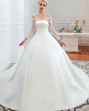 Satin Off the Shoulder Lace Applique Fall Wedding Dress with Long Sleeves QDWD007