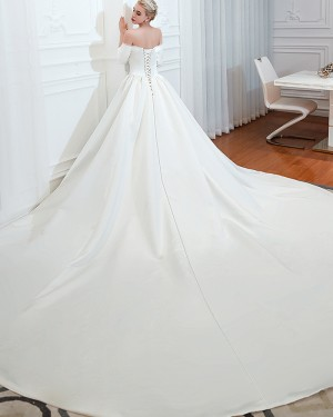 Off the Shoulder Simple Satin Long Wedding Dress with 3/4 Length Sleeves QDWD008