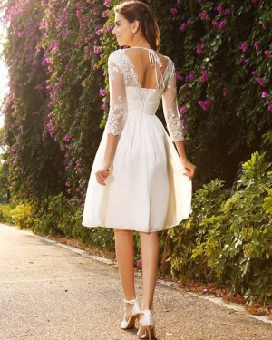 Chiffon Short V-neck Knee Length Appliqued Empire Wedding Dress with 3/4 Length Sleeves WD2006