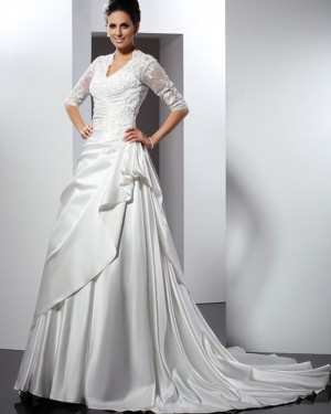 Ruffled Queen Anne Lace Bodice Satin Wedding Gown with Half Length Sleeves WD2007