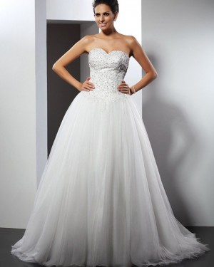 Tulle Sweetheart Beading Bodice Ivory Wedding Gown WD2008