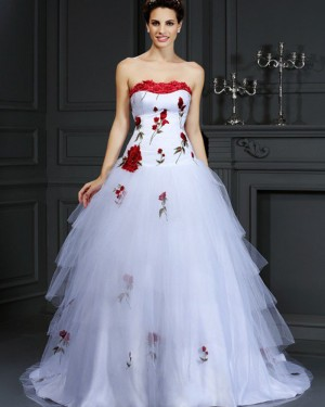 White Strapless Tulle Appliqued Layered Wedding Gown WD2009