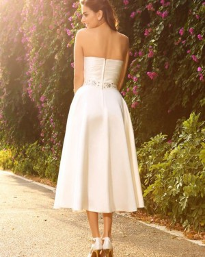 Simple Tea Length Strapless Ivory Ruched Short Wedding Dress with Beading Sash WD2011