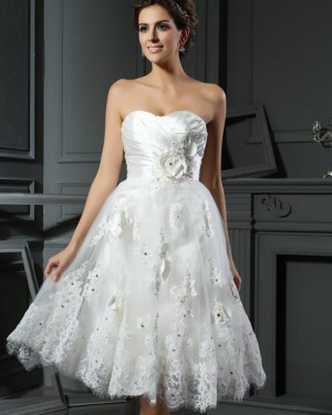 Short Sweetheart Ruched Lace Appliqued Wedding Dress with 3D Flowers WD2014
