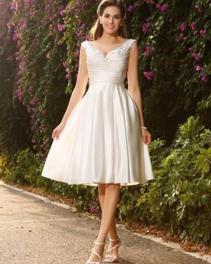 Knee Length V-neck Beading Ruched Satin Ivory Short Wedding Dress WD2016
