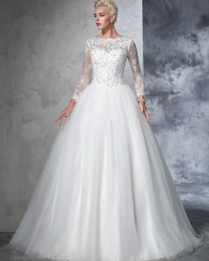 Pleated Jewel Beading Appliqued White Wedding Gown with Long Sleeves WD2021