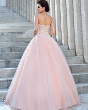 Pleated Strapless Pink Beading Bodice Princess Wedding Gown WD2023
