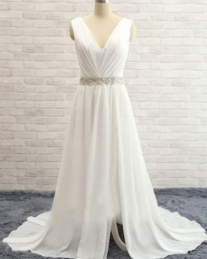 V-neck Ruched Beading Ivory Simple Chiffon Wedding Dress with Side Slit WD2031