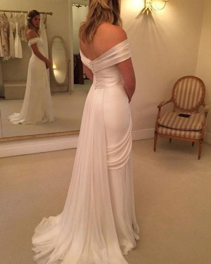 Ruched Simple Off the Shoulder White Wedding Dress with Side Slit WD2036