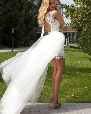 White Jewel Lace Short Wedding Dress with Detachable Skirt WD2042