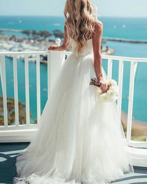 White Tulle Spaghetti Straps Princess Simple Wedding Dress WD2044