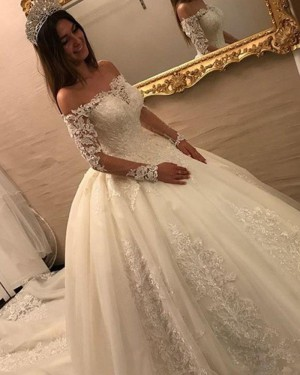 Ivory Off the Shoulder Lace Appliqued Wedding Dress with Long Sleeves WD2052