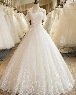 Pleated Off the Shoulder Lace Appliqued Ivory Wedding Gown with Short Sleeves WD2053