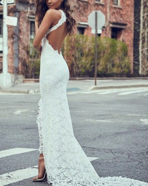 Ivory Mermaid High Neck Lace Wedding Dress with Side Slit WD2057