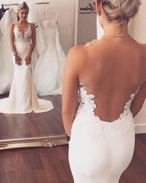 Sheer Lace Appliqued Bodice White Mermaid Wedding Dress WD2062