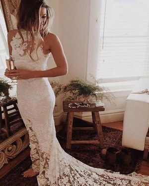 Mermaid High Neck Lace Wedding Dress with Side Slit WD2064