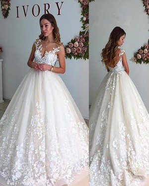 Ivory Pleated Sheer Neck Appliqued Lace Wedding Gown with Open Back WD2068