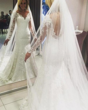 Mermaid Gorgeous Ivory Lace V-neck Wedding Dress with Long Sleeves WD2071