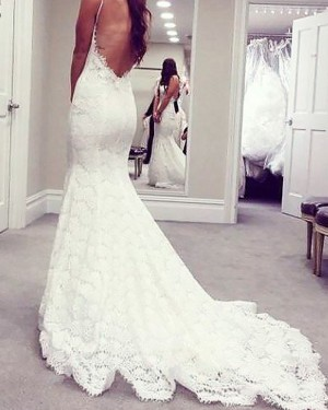 Mermaid Spaghetti Straps Lace Wedding Dress with Open Back WD2073