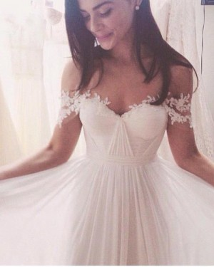 Ruched Applique Chiffon Simple Off the Shoulder Wedding Dress WD2074
