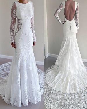 White Lace Long Sleeve Jewel Mermaid Style Wedding Dress WD2075