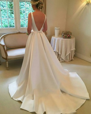 White Pleated Satin Simple Jewel Fall Wedding Dress with Cute Bowknot WD2081