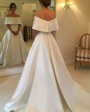 Off the Shoulder Simple A-line Satin Layered Neck Fall Wedding Dress WD2082