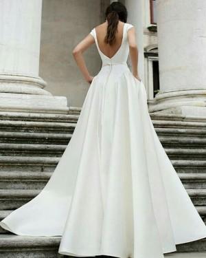 A-line Satin Simple Jewel White Wedding Dress with Pockets WD2087