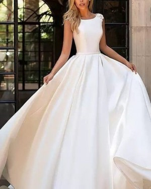 Pleated Satin Fall Jewel Simple White Wedding Dress with Appliques WD2091