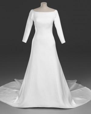 Sheath Satin Scoop Royal Simple Wedding Dress with 3/4 Length Sleeves WD2096