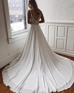 Chiffon White Spaghetti Straps Simple Wedding Dress with Court Train WD2101