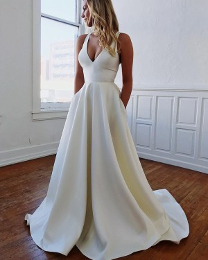 Simple V-neck Satin Pleated Fall Wedding Dress with Pockets WD2108