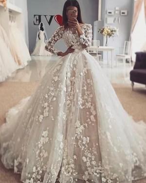 Elegant Ivory Jewel 3D Flowers Long Sleeve Wedding DressWD2110