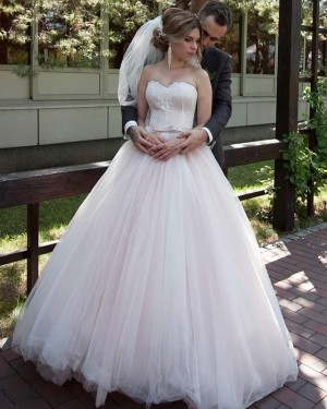 Sweetheart Pleated Light Pink Tulle Applique Wedding Gown WD2113