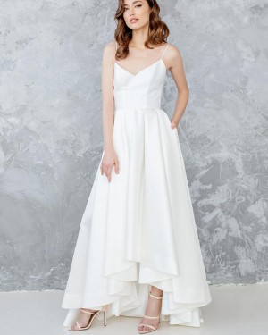 White Satin Spaghetti Straps High Low Pleated Wedding Dress with Pockets WD2121