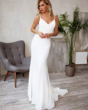Satin White Spaghetti Straps Mermaid Wedding Dress with Beading Belt WD2122