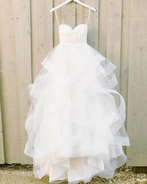Ruffle Spaghetti Straps White Ball Gown Wedding Dress WD2132