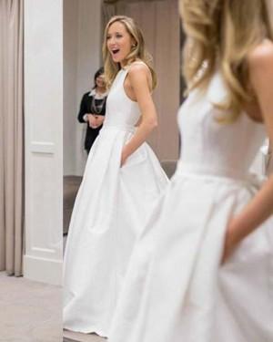 Jewel A-line Simple White Wedding Dress with Pockets WD2133