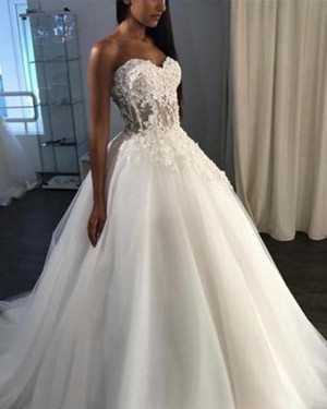Tulle White Lace Bodice Sweetheart Ball Gown Wedding Dress WD2144