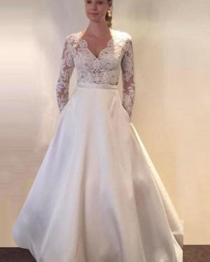 Ivory Long Sleeve V-neck Lace Bodice Satin Wedding Dress with Pockets WD2147