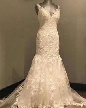 Elegant White V-neck Lace Mermaid Wedding Dress WD2148
